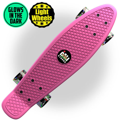 "Glow-in-Dark Pink Penny Board Style 22"" Mini Cruiser & LED Light Wheels - Banana Boards - CALI Strong"