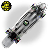 "CALI Strong Clear Penny Board Style 22"" Mini Cruiser & LED Light Wheels - Banana Boards - CALI Strong"