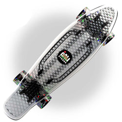 "CALI Strong Clear Penny Board Style 22"" Mini Cruiser & LED Light Wheels"