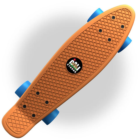"Orange Penny Board Style 22"" Mini Cruiser & Blue Wheels - Banana Boards - CALI Strong"