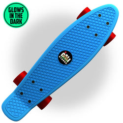 "Glow-in-Dark Blue Penny Board Style 22"" Mini Cruiser & Red Wheels - Banana Boards - CALI Strong"