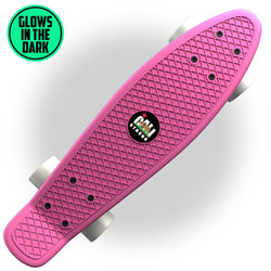 "Glow-in-Dark Pink Penny Board Style 22"" Mini Cruiser & White Wheels"