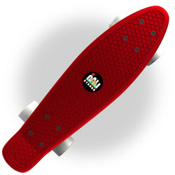 "Red Penny Board Style 22"" Mini Cruiser & White Wheels - Banana Boards - CALI Strong"