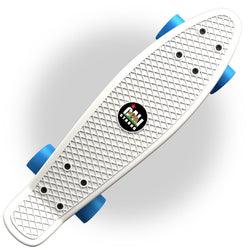 "White Penny Board Style 22"" Mini Cruiser & Blue Wheels"