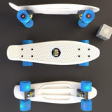 "White Penny Board Style 22"" Mini Cruiser & Blue Wheels - Banana Boards - CALI Strong"