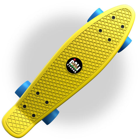 "Yellow Penny Board Style 22"" Mini Cruiser & Blue Wheels - Banana Boards - CALI Strong"