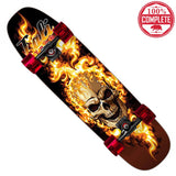 "Flaming Skull Skateboard Cruiser Complete 8.5"" x 32"" - Cruisers - CALI Strong"