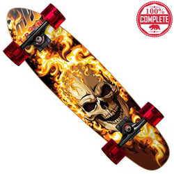 "Flaming Skull Mini Cruiser Throwback Complete 7"" x 28"" - Mini Cruiser Throwback - CALI Strong"
