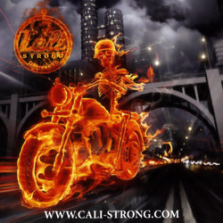 CALI Strong Flame Rider Sticker 4 inch Square Vinyl Decal - Stickers - CALI Strong