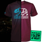 CALI Strong See Thru Bear Glow In The Dark  T-shirt Burgundy - T-Shirt - CALI Strong