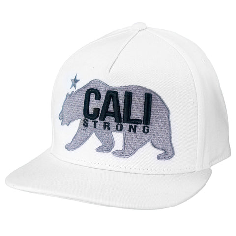 CALI Strong West Coast Grey White Flat Bill Snapback Cap - Headwear - CALI Strong