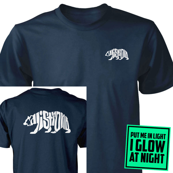 CALI Strong Word Bear Deluxe Glow Navy T-shirt - T-Shirt - CALI Strong