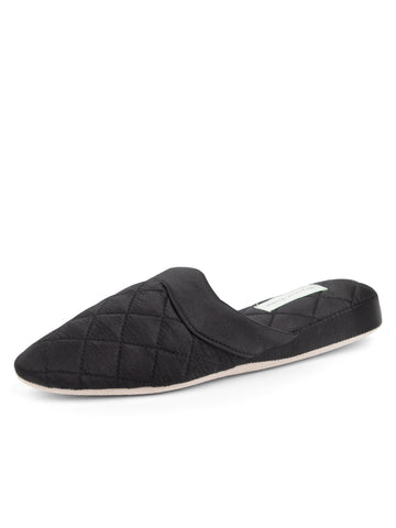 Womens Black/Black Jackie Satin Quilted Slipper