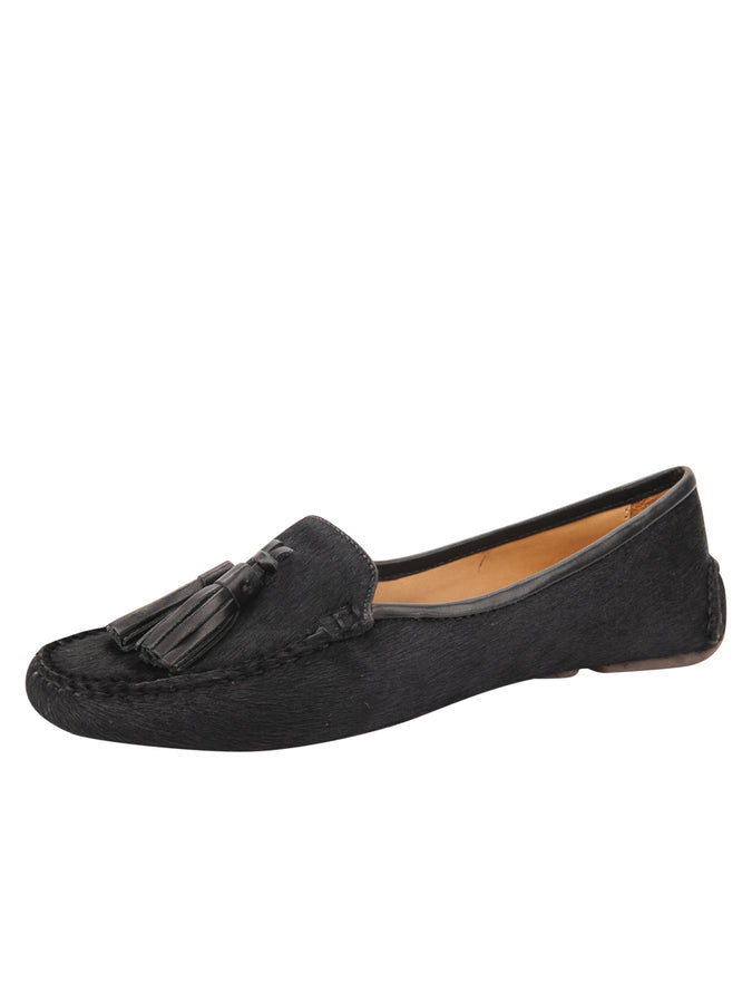 Womens Black Haircalf Ricky Driving Moccasin