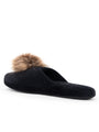 Womens Black/Tan Daisy Pouf Slipper 2