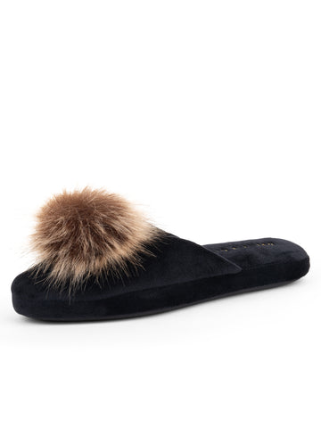 Womens Black/Tan Daisy Pouf Slipper