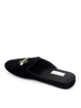 Womens Black Velvet Queen Bee Embroidered Slipper 2