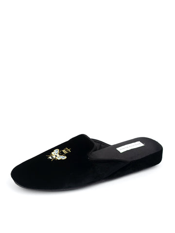 Womens Black Velvet Queen Bee Embroidered Slipper