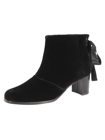 Womens Black Veronica Velvet Ribbon Bootie