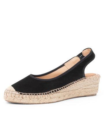 Womens Black Valencia Closed Toe Slingback Espadrille