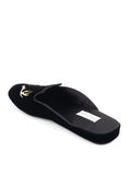 Womens Black Antler Embroidered Slipper 2