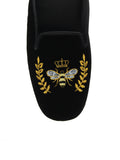 Womens Black Beatrice Crest Slipper 2