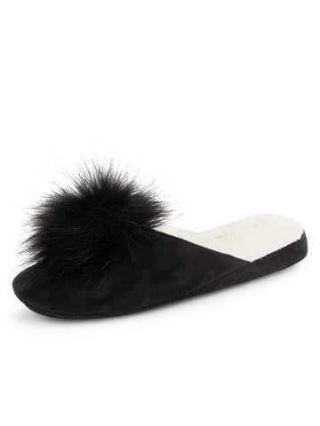Womens Black Pretty Pouf Slipper