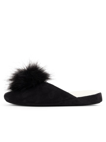 Womens Black Pretty Pouf Slipper 4 Alternate View