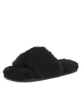 Womens Black Vail Shearling Thong Slipper
