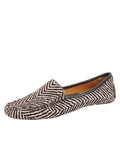 Womens Black & White Herringbone Haircalf Jillian Driving Moccasin
