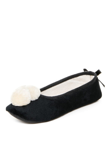 Womens Black & white Pom Pom Slipper