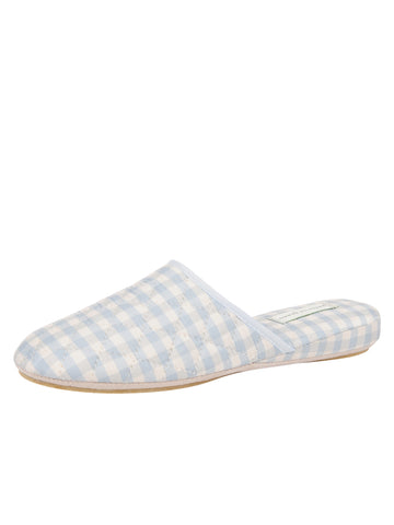 Womens Blue Sari Silk Check Slipper