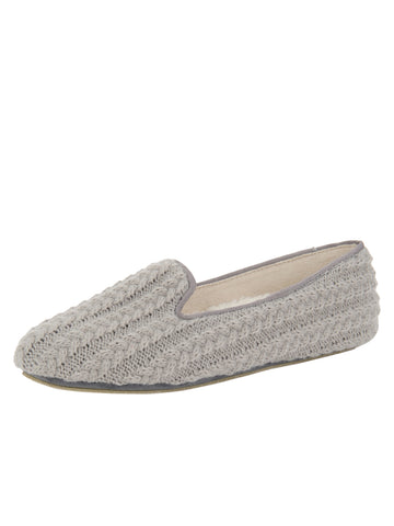 Womens Grey Deluxe Cable Knit Slipper