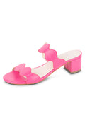 Womens Hot Pink Leather Palm Beach Scalloped Sandal