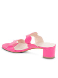 Womens Hot Pink Leather Palm Beach Scalloped Sandal 2