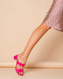 Womens Hot Pink Leather Palm Beach Scalloped Sandal 4