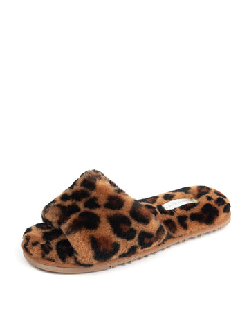 Womens Leopard Tahoe Single Strap Slipper
