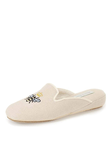 Womens Linen Queen Bee Embroidered Slipper