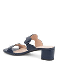 Womens Navy Leather Palm Beach Scalloped Sandal 2