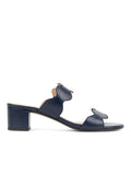 Womens Navy Leather Palm Beach Scalloped Sandal 4