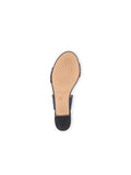 Womens Navy Leather Palm Beach Scalloped Sandal 5