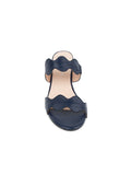 Womens Navy Leather Palm Beach Scalloped Sandal 6