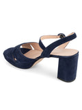 Womens Navy Selma Block Heeled Sandal 2