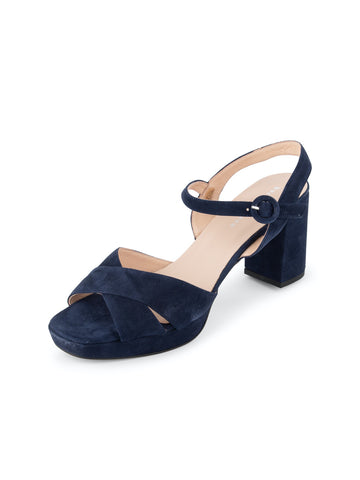 Womens Navy Selma Block Heeled Sandal