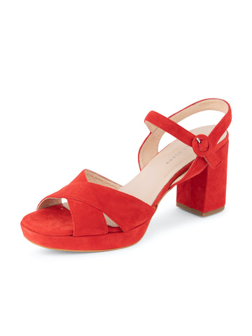 Womens Red Selma Block Heeled Sandal