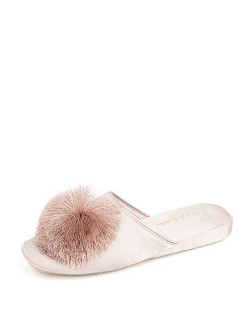 Womens Taupe Cathy Satin Slipper