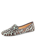 Womens Teal Blue Leopard Jillian Driving Moccasin