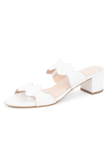 Womens White Leather Palm Beach Scalloped Sandal