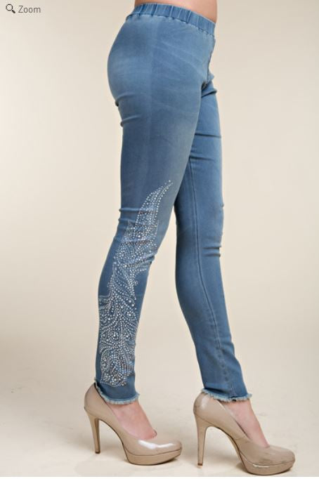 Vocal Straight Leg Feather Bling Jeans
