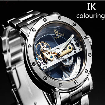 OnePerfectShop - Amazing automatic mechanical watch double-sided hollow steel tide male table watch